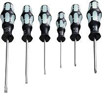 6-piece set of stainless steel flat-tip/PZ screwdrivers